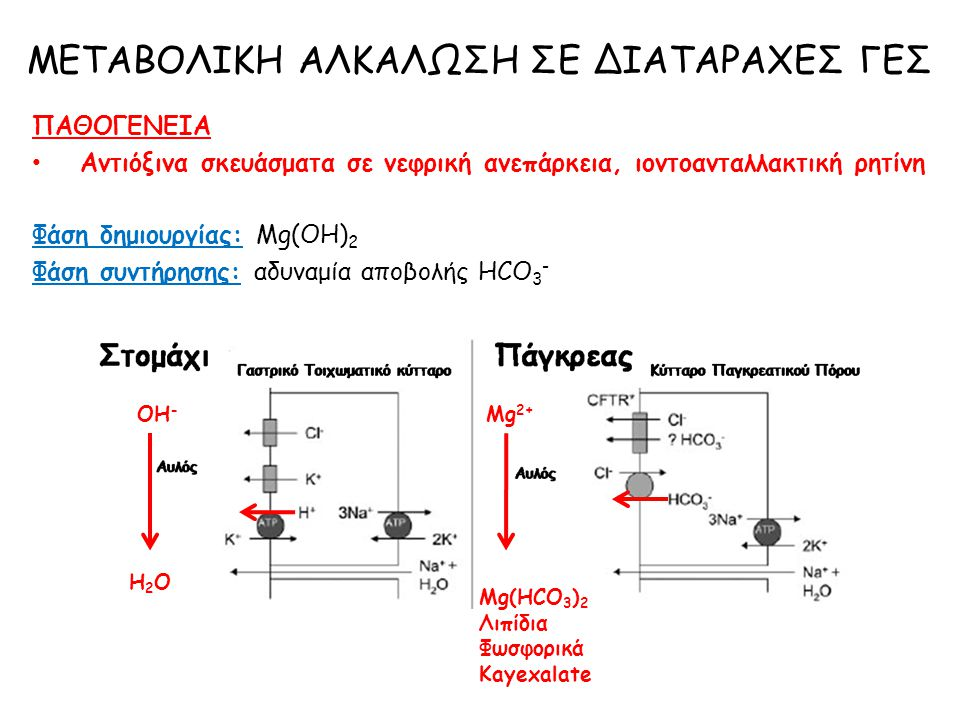 ΠΑΘΟΓΕΝΕΙΑ Αντιόξινα σκευάσματα σε νεφρική ανεπάρκεια, ιοντοανταλλακτική ρητίνη Φάση δημιουργίας: Mg(OH) 2 Φάση συντήρησης: αδυναμία αποβολής ΗCO 3 -