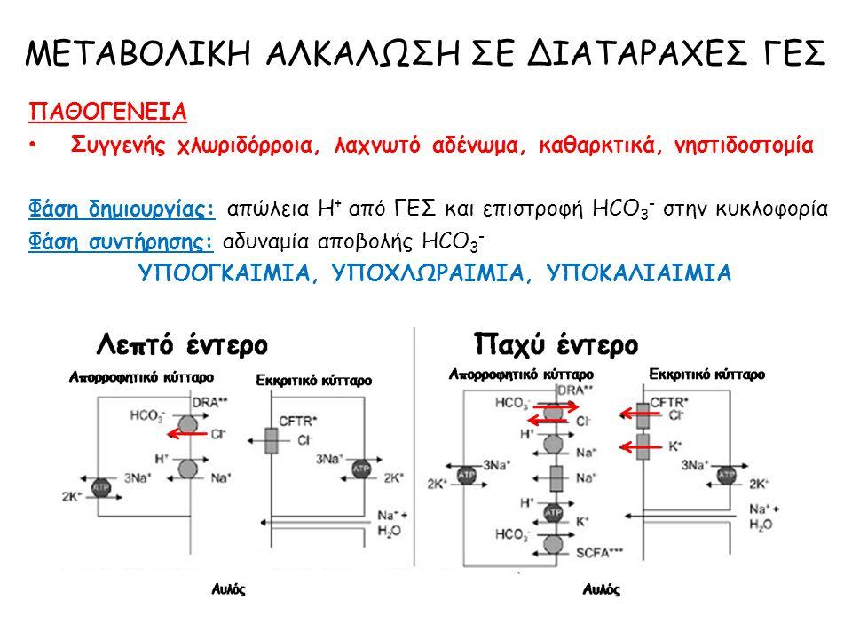 ΠΑΘΟΓΕΝΕΙΑ Συγγενής χλωριδόρροια, λαχνωτό αδένωμα, καθαρκτικά, νηστιδοστομία Φάση δημιουργίας: απώλεια Η + από ΓΕΣ και επιστροφή HCO 3 - στην κυκλοφορ