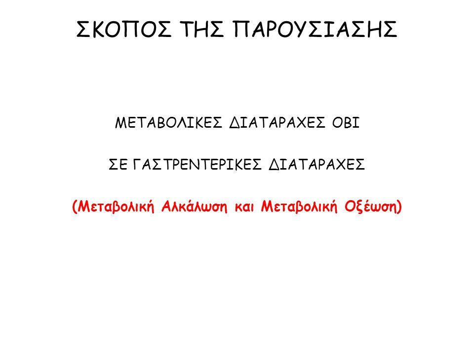 ΕΡΓΑΣΤΗΡΙΑΚΑ ΕΥΡΗΜΑΤΑ ΑΕΡΙΑ ΑΙΜΑΤΟΣ pH ΒΙΟΧΗΜΙΚΗ ΕΞΕΤΑΣΗ ΟΡΟΥ Υποκαλιαιμία Υποχλωραιμία ΒΙΟΧΗΜΙΚΗ ΕΞΕΤΑΣΗ ΟΥΡΩΝ Υποογκαιμία, υποχλωραιμία: Cl - U < 10-20 mmol/L Διτανθρακουρία: Na + U > 10 mmol/L ΜΕΤΑΒΟΛΙΚΗ ΑΛΚΑΛΩΣΗ ΣΕ ΔΙΑΤΑΡΑΧΕΣ ΓΕΣ [HCO3-] 1 mEq/L PCO 2 0,7 mmHg