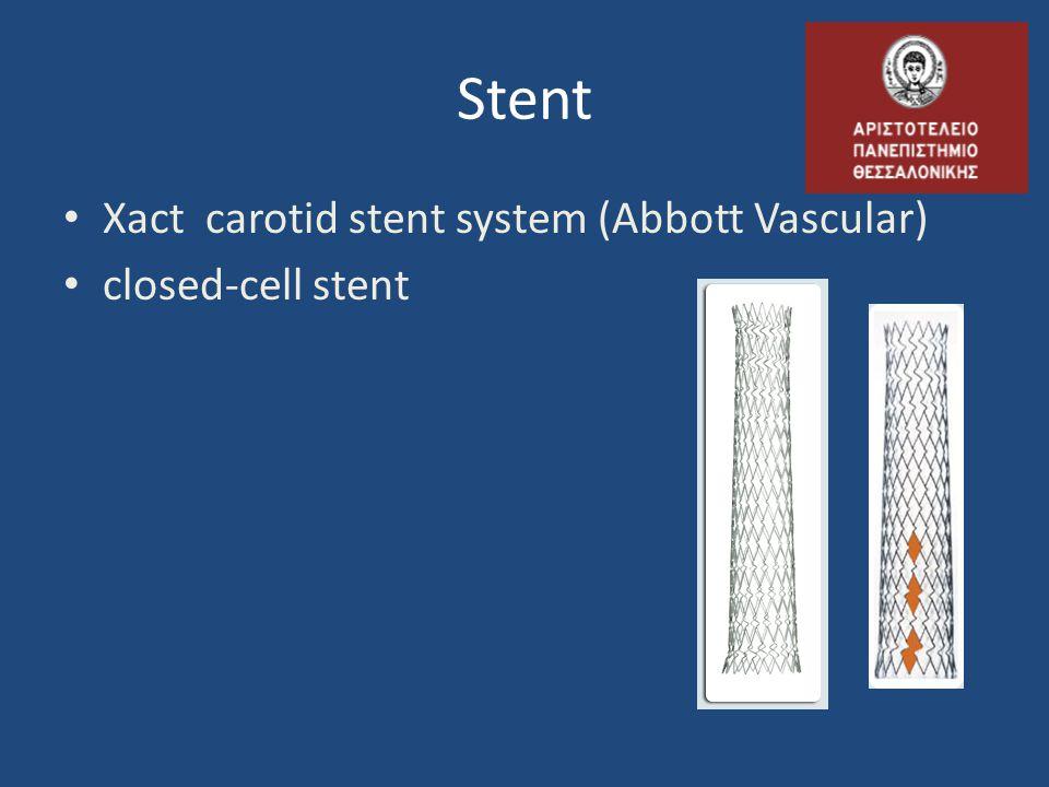 Stent Xact carotid stent system (Abbott Vascular) closed-cell stent