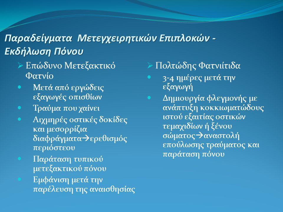 Παραδείγματα Μετεγχειρητικών Επιπλοκών - Εκδήλωση Πόνου  Ξηρό Φαντίο 1-2 ημέρες μετά την εξαγωγή κυρίως οπισθίων δοντιών- διάρκεια έως και 2 εβδομάδες Υπεύθυνοι τοπικοί παράγοντες(πυκνή υφή οστικού πετάλου και μειωμένη αιμάτωση περιοχής)-όχι μικροβιακά αίτια Απουσία αιμοπήγματος απ'το φατνίο,παρουσία γυμνού του οστικού τοιχώματος του φατνίου,δυσοσμία,ισχυρός πόνος που δεν υποχωρεί με τα συνήθη αναλγητικά