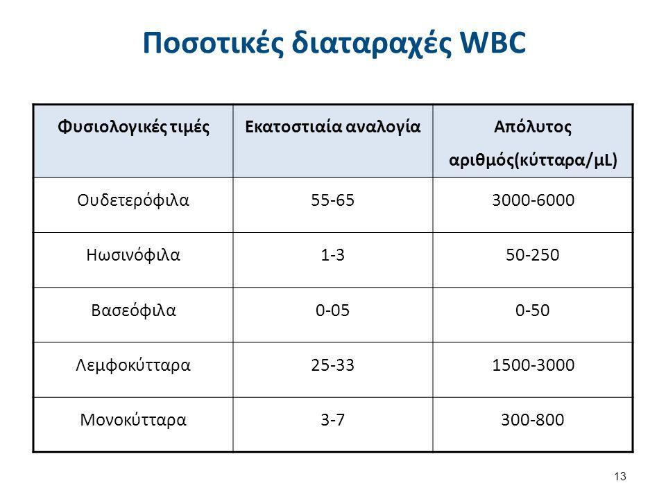 Ποσοτικές διαταραχές WBC Φυσιολογικές τιμέςΕκατοστιαία αναλογία Απόλυτος αριθμός(κύτταρα/μL) Ουδετερόφιλα55-653000-6000 Ηωσινόφιλα1-350-250 Βασεόφιλα0