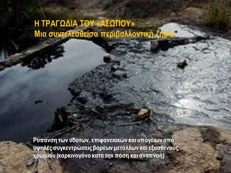 Η ΤΡΑΓΩΔΙΑ ΤΟΥ «ΑΣΩΠΟΥ» Μια συντελεσθείσα περιβαλλοντική ζημιά Ρύπανση των υδάτων, επιφανειακών και υπόγειων από υψηλές συγκεντρώσεις βαρέων μετάλλων και εξασθενούς χρωμίου (καρκινογόνο κατά την πόση και αναπνοή)