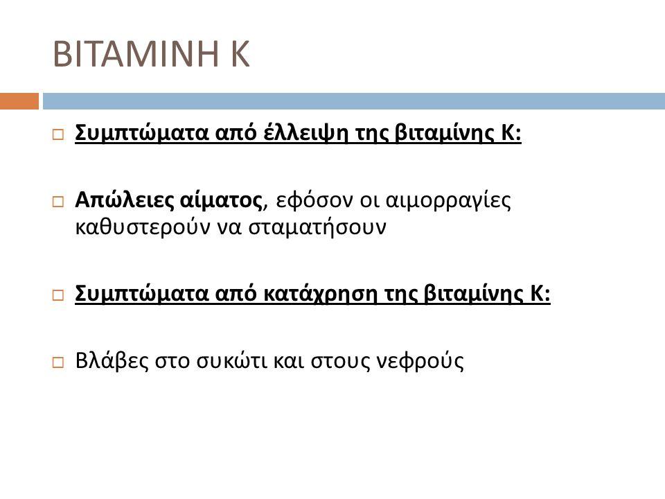  Συμπτώματα από έλλειψη της βιταμίνης Κ :  Απώλειες αίματος, εφόσον οι αιμορραγίες καθυστερούν να σταματήσουν  Συμπτώματα από κατάχρηση της βιταμίν