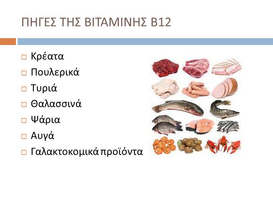  Κρέατα  Πουλερικά  Τυριά  Θαλασσινά  Ψάρια  Αυγά  Γαλακτοκομικά προϊόντα ΠΗΓΕΣ ΤΗΣ ΒΙΤΑΜΙΝΗΣ Β 12