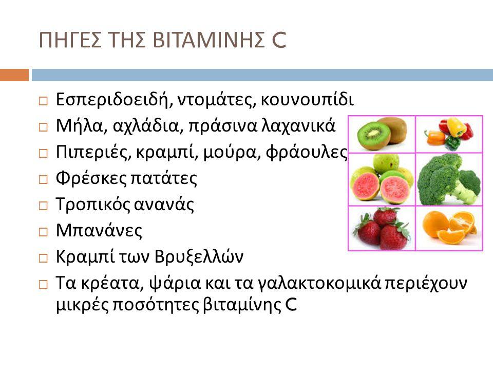  Εσπεριδοειδή, ντομάτες, κουνουπίδι  Μήλα, αχλάδια, πράσινα λαχανικά  Πιπεριές, κραμπί, μούρα, φράουλες  Φρέσκες πατάτες  Τροπικός ανανάς  Μπανά