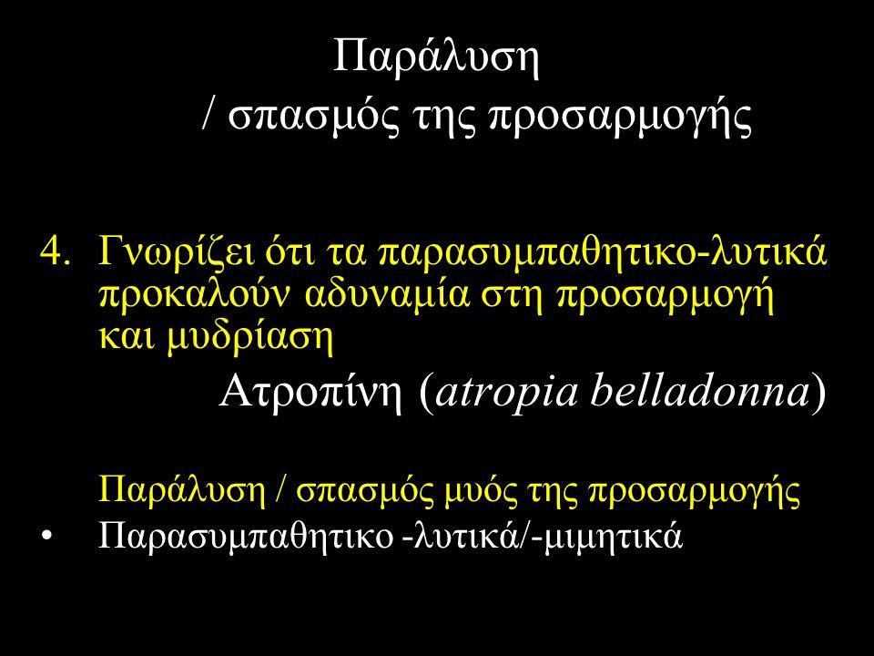 Παράλυση / σπασμός της προσαρμογής 4.Γνωρίζει ότι τα παρασυμπαθητικο-λυτικά προκαλούν αδυναμία στη προσαρμογή και μυδρίαση Ατροπίνη (atropia belladonn