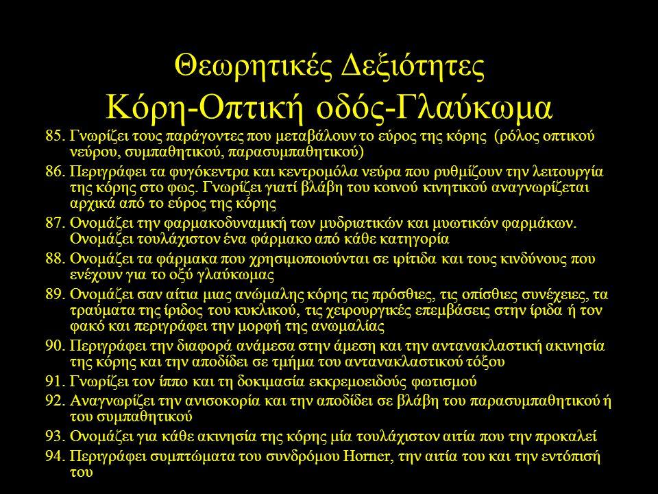 Θεωρητικές Δεξιότητες Κόρη-Οπτική οδός-Γλαύκωμα 85.Γνωρίζει τους παράγοντες που μεταβάλουν το εύρος της κόρης (ρόλος οπτικού νεύρου, συμπαθητικού, παρ