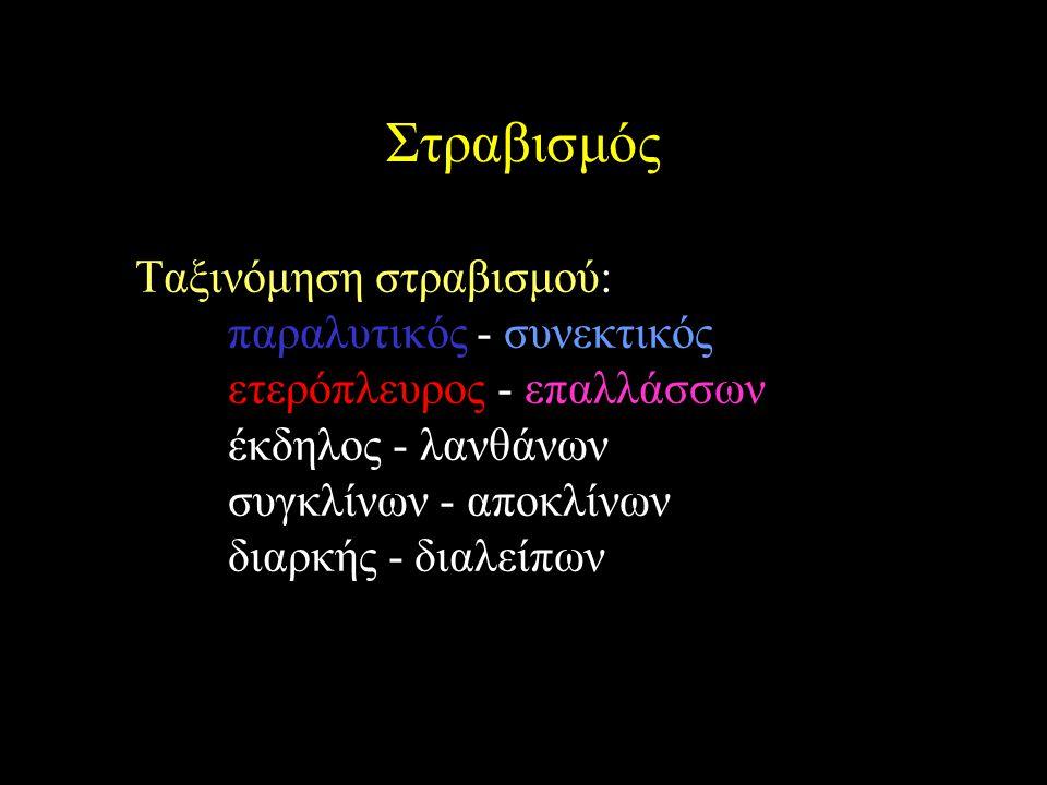Στραβισμός Ταξινόμηση στραβισμού: παραλυτικός - συνεκτικός ετερόπλευρος - επαλλάσσων έκδηλος - λανθάνων συγκλίνων - αποκλίνων διαρκής - διαλείπων