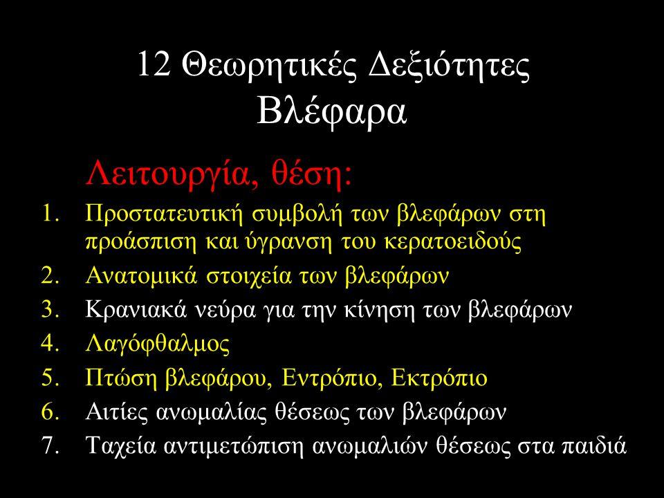 12 Θεωρητικές Δεξιότητες Βλέφαρα Λειτουργία, θέση: 1.Προστατευτική συμβολή των βλεφάρων στη προάσπιση και ύγρανση του κερατοειδούς 2.Ανατομικά στοιχεί