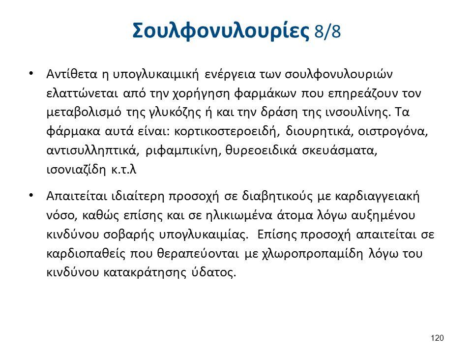 Σουλφονυλουρίες 8/8 Αντίθετα η υπογλυκαιμική ενέργεια των σουλφονυλουριών ελαττώνεται από την χορήγηση φαρμάκων που επηρεάζουν τον μεταβολισμό της γλυ