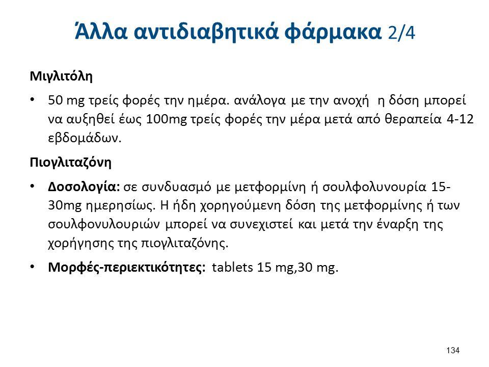 Άλλα αντιδιαβητικά φάρμακα 2/4 Μιγλιτόλη 50 mg τρείς φορές την ημέρα. ανάλογα με την ανοχή η δόση μπορεί να αυξηθεί έως 100mg τρείς φορές την μέρα μετ
