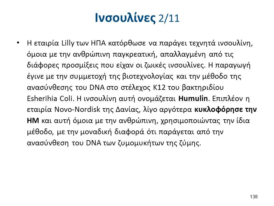 Ινσουλίνες 2/11 Η εταιρία Lilly των ΗΠΑ κατόρθωσε να παράγει τεχνητά ινσουλίνη, όμοια με την ανθρώπινη παγκρεατική, απαλλαγμένη από τις διάφορες προσμ