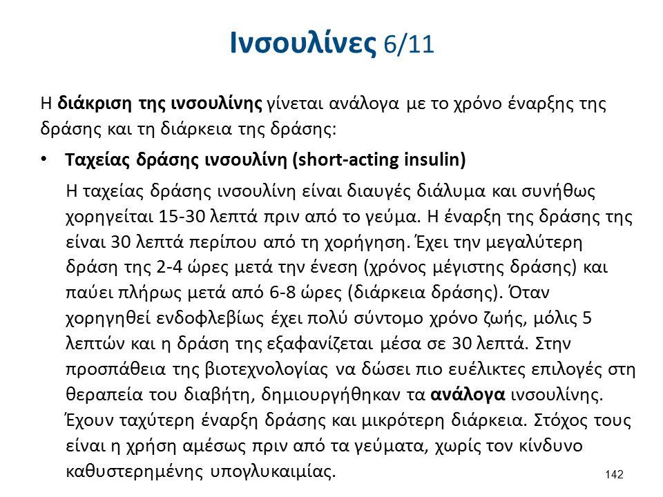 Ινσουλίνες 6/11 Η διάκριση της ινσουλίνης γίνεται ανάλογα με το χρόνο έναρξης της δράσης και τη διάρκεια της δράσης: Ταχείας δράσης ινσουλίνη (short-a