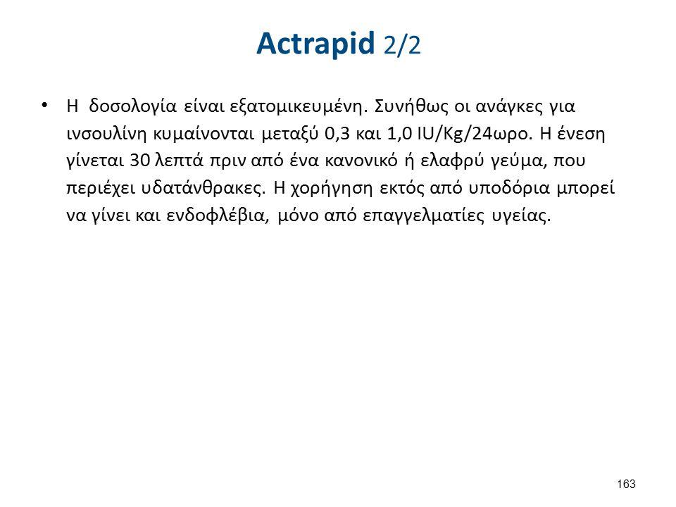 Actrapid 2/2 Η δοσολογία είναι εξατομικευμένη. Συνήθως οι ανάγκες για ινσουλίνη κυμαίνονται μεταξύ 0,3 και 1,0 IU/Kg/24ωρο. Η ένεση γίνεται 30 λεπτά π