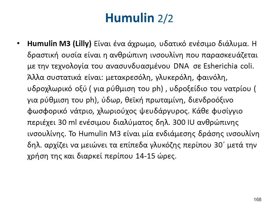 Humulin 2/2 Humulin M3 (Lilly) Είναι ένα άχρωμο, υδατικό ενέσιμο διάλυμα. Η δραστική ουσία είναι η ανθρώπινη ινσουλίνη που παρασκευάζεται με την τεχνο