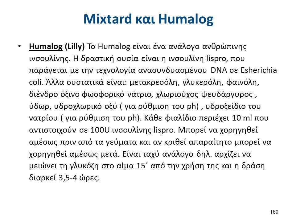 Mixtard και Humalog Humalog (Lilly) Το Humalog είναι ένα ανάλογο ανθρώπινης ινσουλίνης. Η δραστική ουσία είναι η ινσουλίνη lispro, που παράγεται με τη