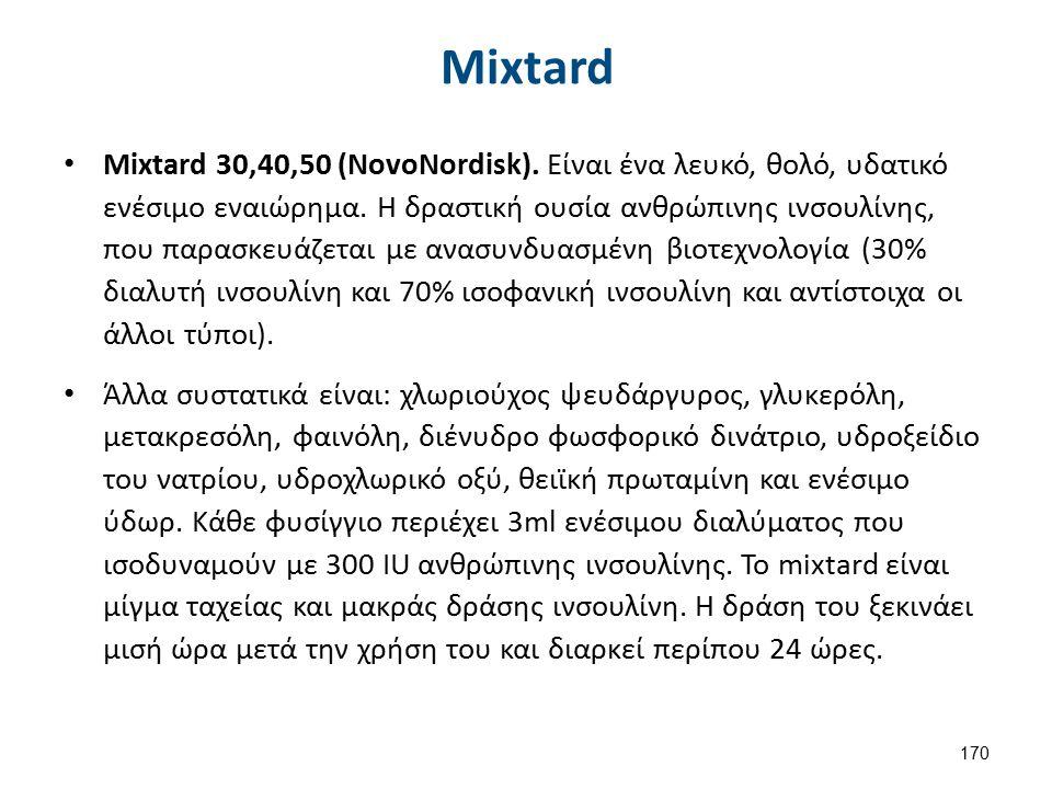 Mixtard Mixtard 30,40,50 (NovoNordisk). Είναι ένα λευκό, θολό, υδατικό ενέσιμο εναιώρημα. Η δραστική ουσία ανθρώπινης ινσουλίνης, που παρασκευάζεται μ