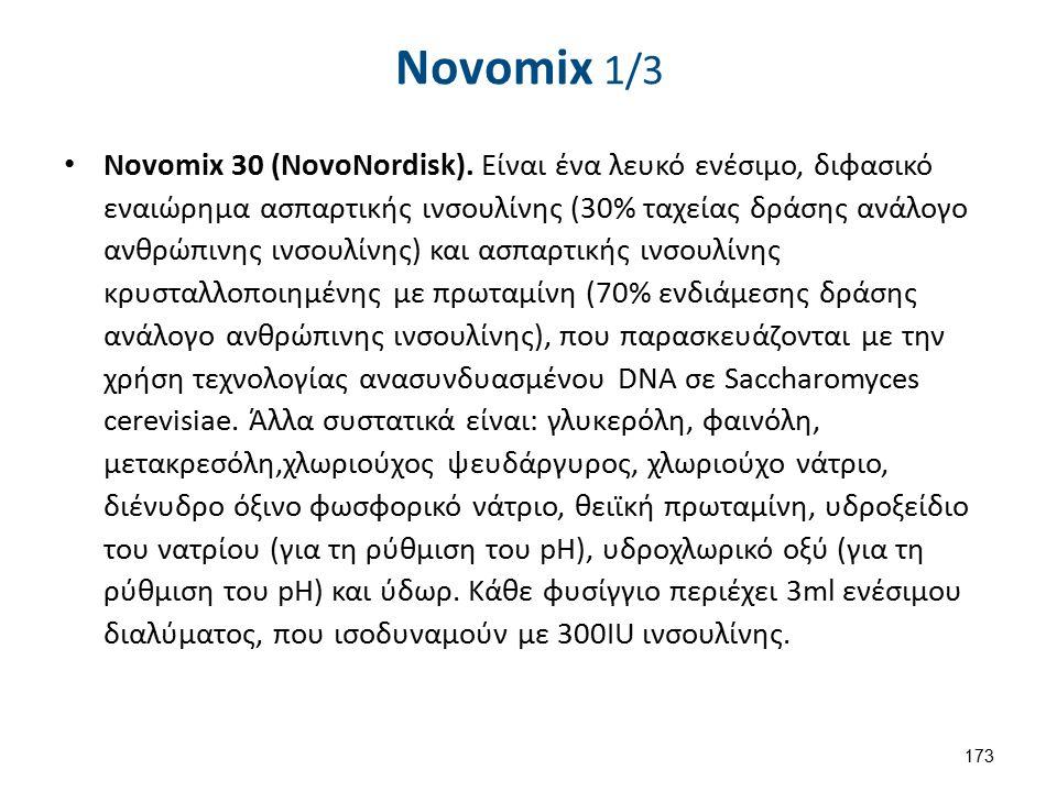 Novomix 1/3 Novomix 30 (NovoNordisk). Είναι ένα λευκό ενέσιμο, διφασικό εναιώρημα ασπαρτικής ινσουλίνης (30% ταχείας δράσης ανάλογο ανθρώπινης ινσουλί