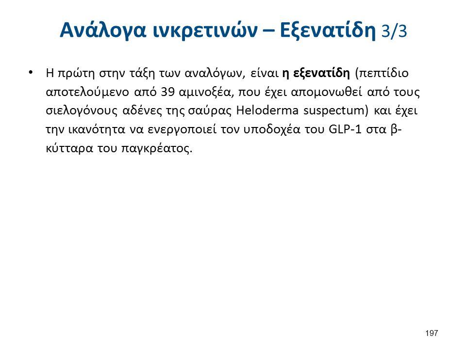 Ανάλογα ινκρετινών – Εξενατίδη 3/3 Η πρώτη στην τάξη των αναλόγων, είναι η εξενατίδη (πεπτίδιο αποτελούμενο από 39 αμινοξέα, που έχει απομονωθεί από τ