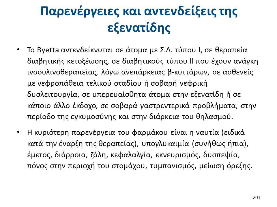 Παρενέργειες και αντενδείξεις της εξενατίδης Το Byetta αντενδείκνυται σε άτομα με Σ.Δ. τύπου I, σε θεραπεία διαβητικής κετοξέωσης, σε διαβητικούς τύπο