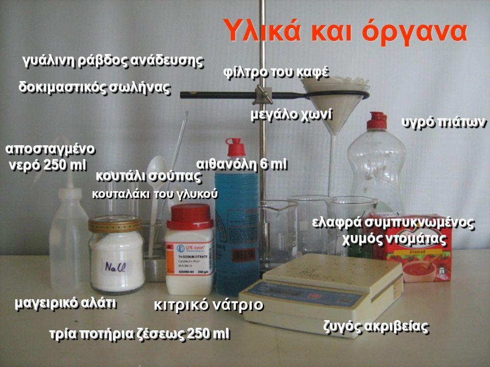 κιτρικό νάτριο τρία ποτήρια ζέσεως 250 ml δοκιμαστικός σωλήνας γυάλινη ράβδος ανάδευσης μεγάλο χωνί φίλτρο του καφέ ελαφρά συμπυκνωμένος χυμός ντομάτα