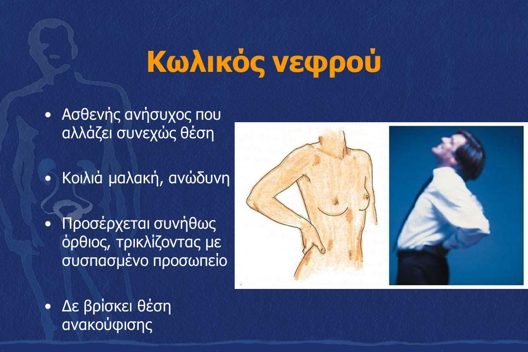 Κωλικός νεφρού Ασθενής ανήσυχος που αλλάζει συνεχώς θέση Κοιλιά μαλακή, ανώδυνη Προσέρχεται συνήθως όρθιος, τρικλίζοντας με συσπασμένο προσωπείο Δε βρίσκει θέση ανακούφισης