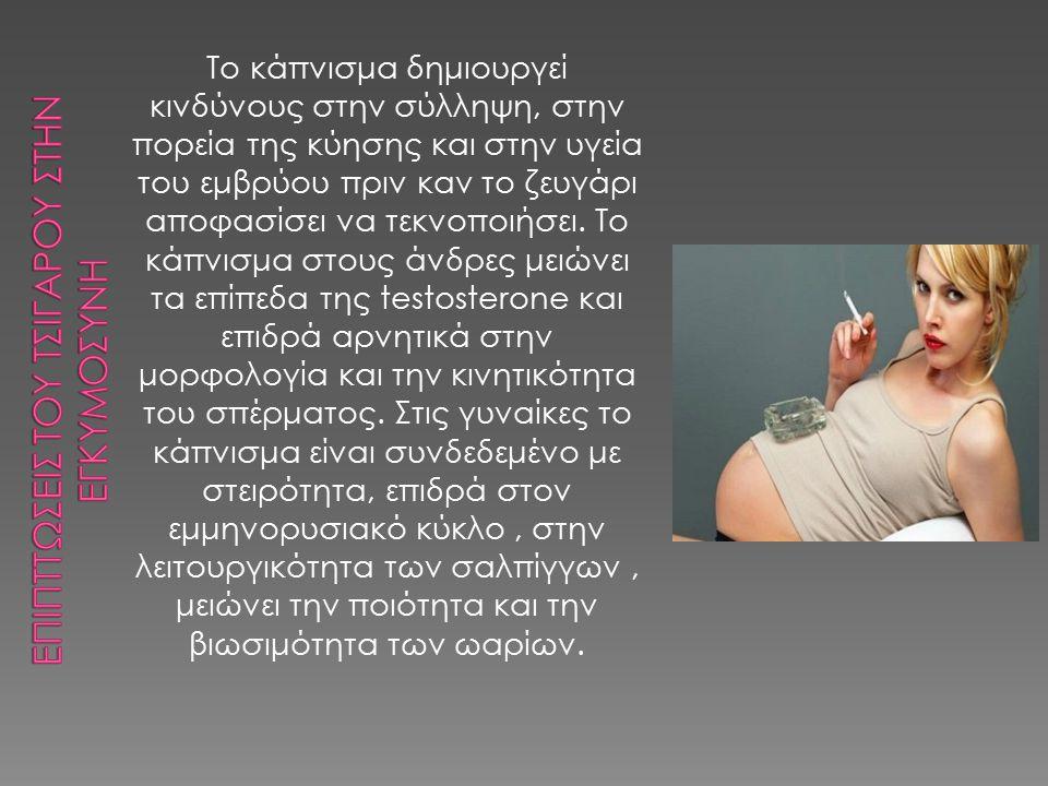 Το κάπνισμα δημιουργεί κινδύνους στην σύλληψη, στην πορεία της κύησης και στην υγεία του εμβρύου πριν καν το ζευγάρι αποφασίσει να τεκνοποιήσει. Το κά