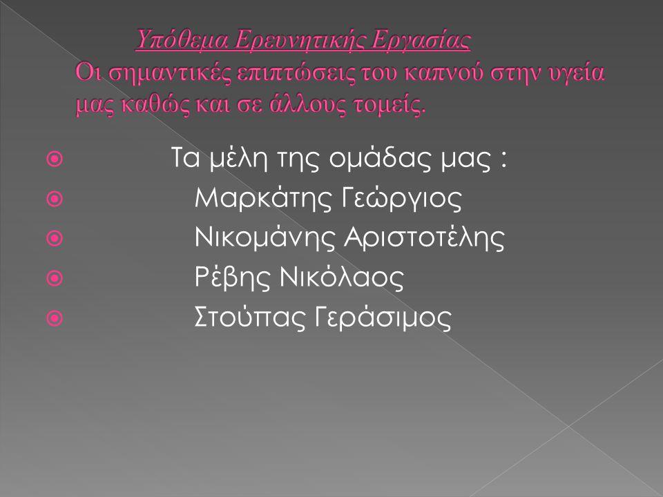  Τα μέλη της ομάδας μας :  Μαρκάτης Γεώργιος  Νικομάνης Αριστοτέλης  Ρέβης Νικόλαος  Στούπας Γεράσιμος