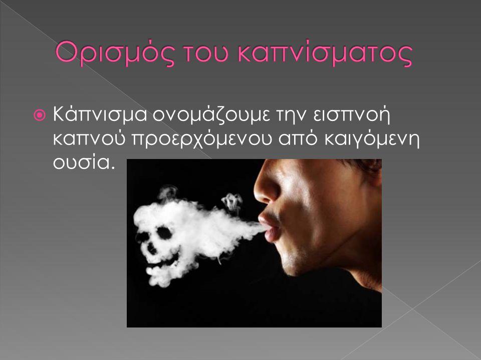  Κάπνισμα ονομάζουμε την εισπνοή καπνού προερχόμενου από καιγόμενη ουσία.