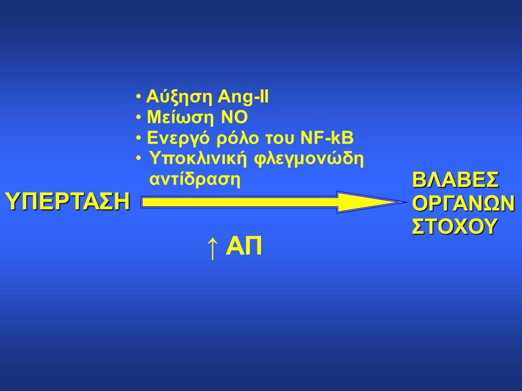 ΥΠΕΡΤΑΣΗ Αύξηση Αng-II Μείωση ΝΟ Ενεργό ρόλο του NF-kΒ Υποκλινική φλεγμονώδη αντίδραση ↑ ΑΠ ΒΛΑΒΕΣΟΡΓΑΝΩΝΣΤΟΧΟΥ