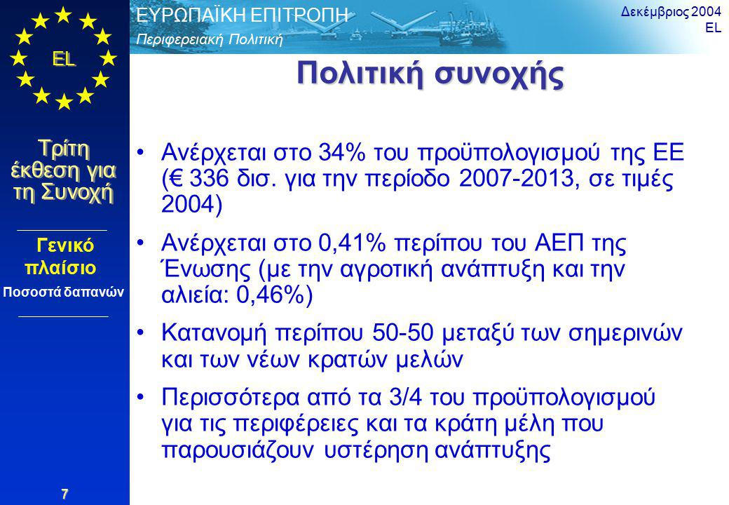 Περιφερειακή Πολιτική ΕΥΡΩΠΑΪΚΗ ΕΠΙΤΡΟΠΗ EL Τρίτη έκθεση για τη Συνοχή Δεκέμβριος 2004 EL 28 Προτεινόμενο χρονοδιάγραμμα Προτεινόμενο χρονοδιάγραμμα 10 και 11 Μαΐου 2004: Ευρωπαϊκό φόρουμ για τη συνοχή, Βρυξέλλες Ιούλιος 2004: Η Επιτροπή υιοθετεί το νομοθετικό πακέτο Τέλη 2005: Απόφαση από το Συμβούλιο και το Ευρωκοινοβούλιο 2006: Προετοιμασία προγραμμάτων για την περίοδο 2007-2013 1 Ιαν.