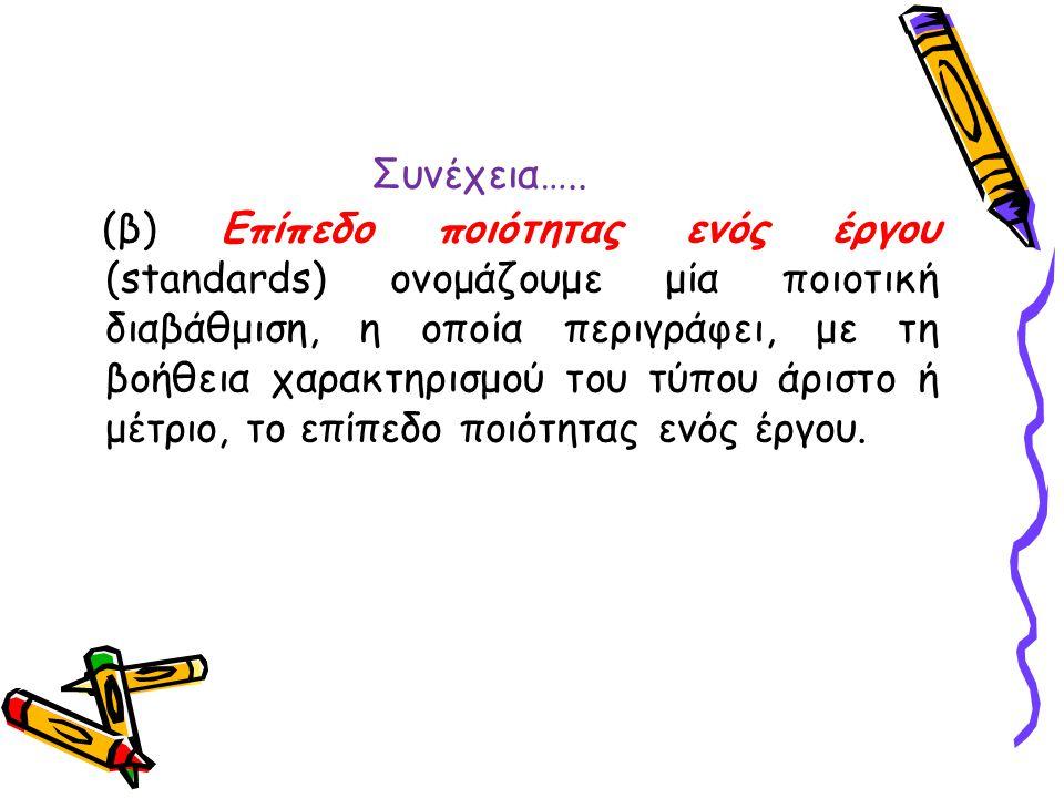 Συνέχεια….. (β) Επίπεδο ποιότητας ενός έργου (standards) ονομάζουμε μία ποιοτική διαβάθμιση, η οποία περιγράφει, με τη βοήθεια χαρακτηρισμού του τύπου