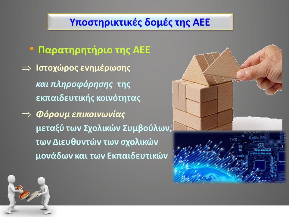 Υποστηρικτικές δομές της ΑΕΕ Παρατηρητήριο της ΑΕΕ  Ιστοχώρος ενημέρωσης και πληροφόρησης της εκπαιδευτικής κοινότητας  Φόρουμ επικοινωνίας μεταξύ των Σχολικών Συμβούλων, των Διευθυντών των σχολικών μονάδων και των Εκπαιδευτικών