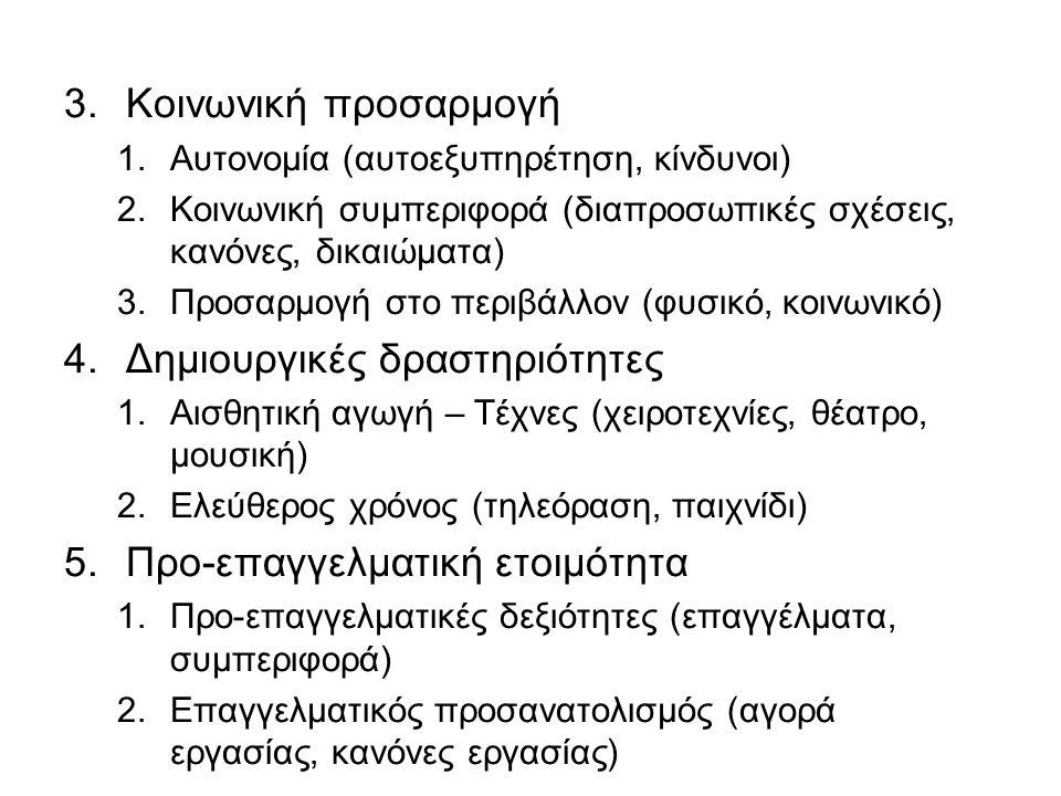 3.Κοινωνική προσαρμογή 1.Αυτονομία (αυτοεξυπηρέτηση, κίνδυνοι) 2.Κοινωνική συμπεριφορά (διαπροσωπικές σχέσεις, κανόνες, δικαιώματα) 3.Προσαρμογή στο π