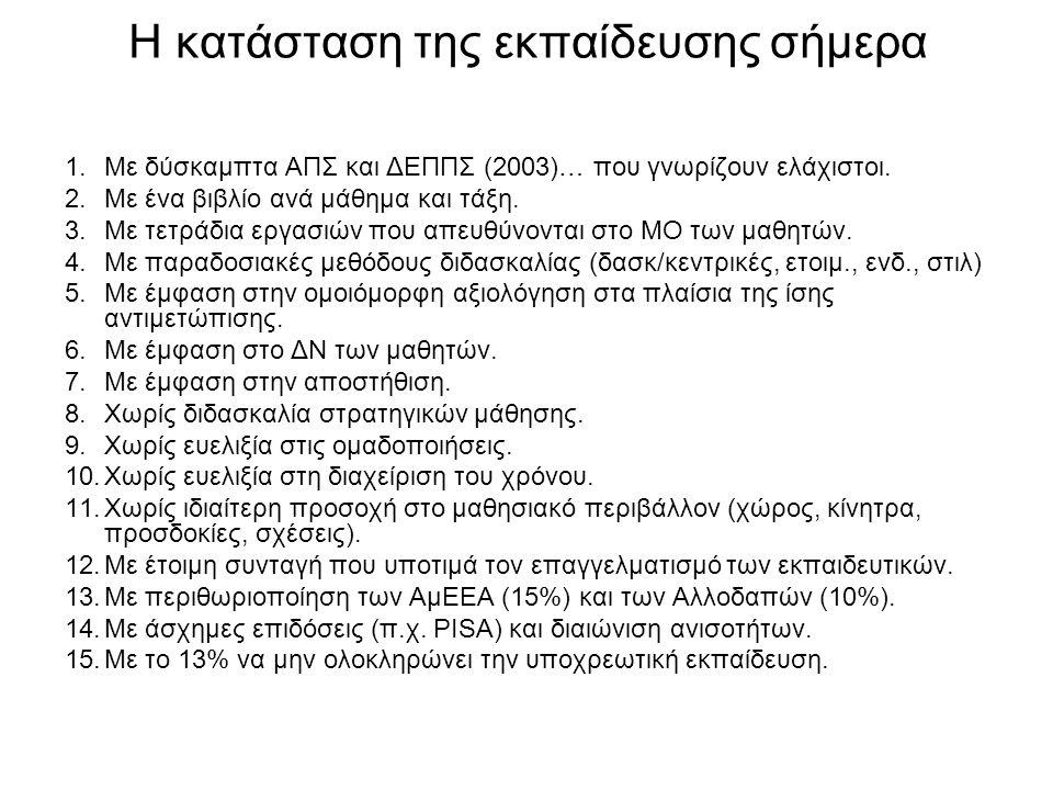 Η κατάσταση της εκπαίδευσης σήμερα 1.Με δύσκαμπτα ΑΠΣ και ΔΕΠΠΣ (2003)… που γνωρίζουν ελάχιστοι. 2.Με ένα βιβλίο ανά μάθημα και τάξη. 3.Με τετράδια ερ