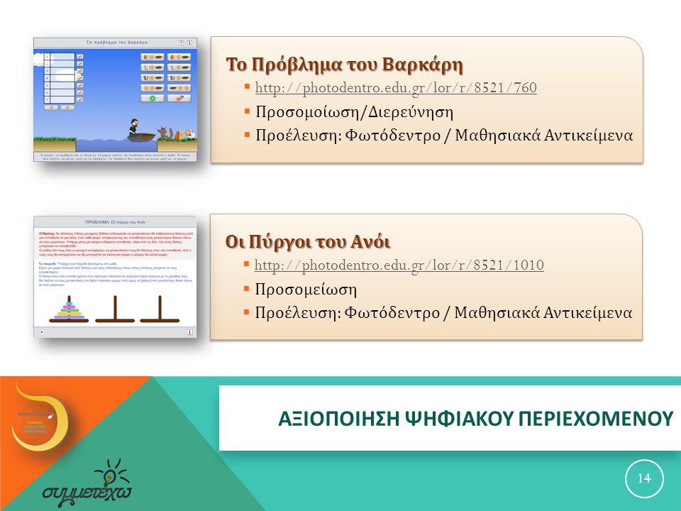 ΑΞΙΟΠΟΙΗΣΗ ΨΗΦΙΑΚΟΥ ΠΕΡΙΕΧΟΜΕΝΟΥ Οι Πύργοι του Ανόι  http://photodentro.edu.gr/lor/r/8521/1010 http://photodentro.edu.gr/lor/r/8521/1010  Προσομείωση  Προέλευση : Φωτόδεντρο / Μαθησιακά Αντικείμενα 14 Το Πρόβλημα του Βαρκάρη  http://photodentro.edu.gr/lor/r/8521/760 http://photodentro.edu.gr/lor/r/8521/760  Προσομοίωση / Διερεύνηση  Προέλευση : Φωτόδεντρο / Μαθησιακά Αντικείμενα