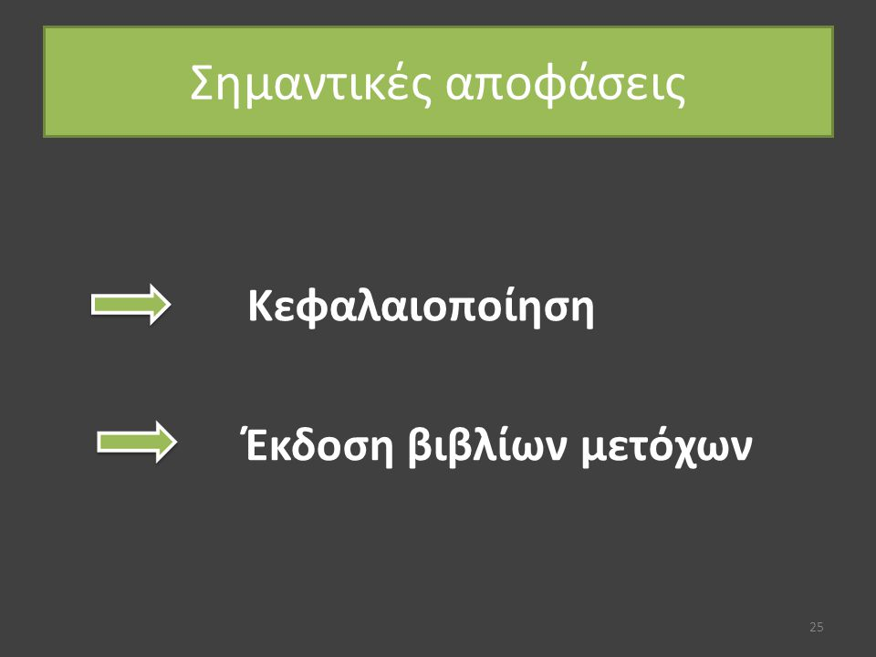 Σημαντικές αποφάσεις 25 Κεφαλαιοποίηση Έκδοση βιβλίων μετόχων