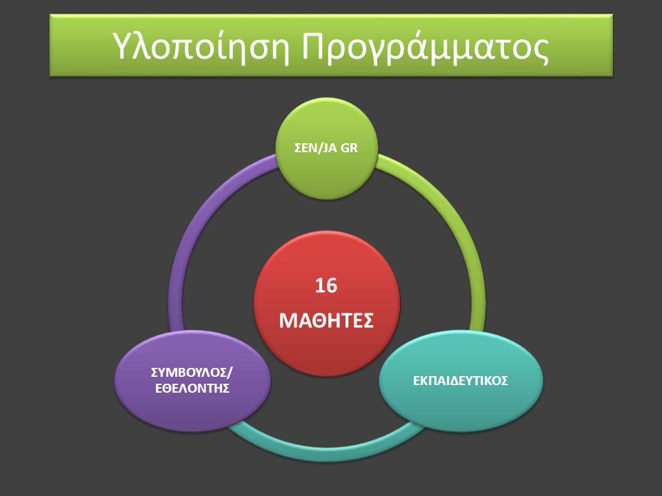 Υλοποίηση Προγράμματος 16 ΜΑΘΗΤΕΣ ΣΕΝ/JA GRΕΚΠΑΙΔΕΥΤΙΚΟΣ ΣΥΜΒΟΥΛΟΣ/ ΕΘΕΛΟΝΤΗΣ