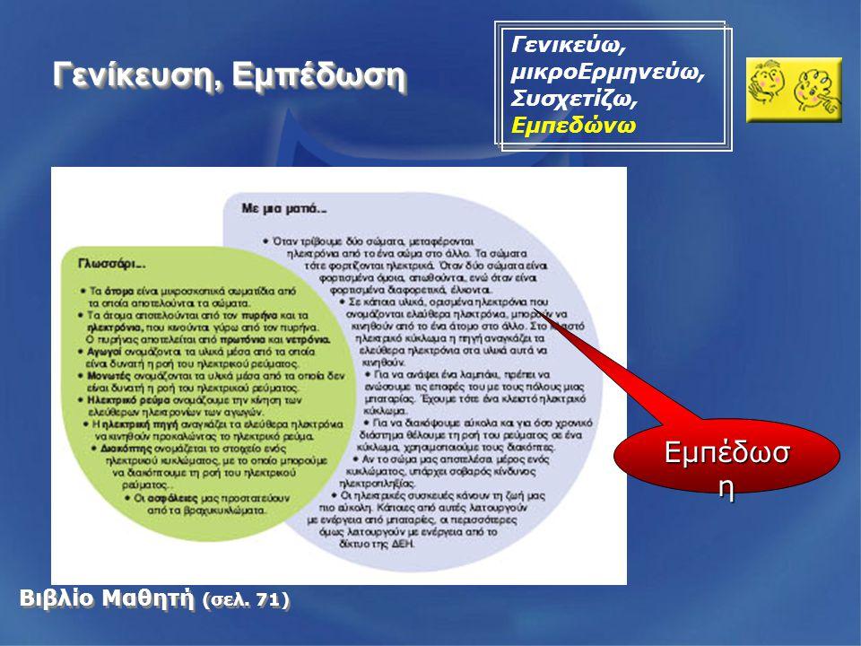 Βιβλίο Μαθητή (σελ. 71) Γενίκευση, Εμπέδωση Γενικεύω, μικροΕρμηνεύω, Συσχετίζω, Εμπεδώνω Εμπέδωσ η