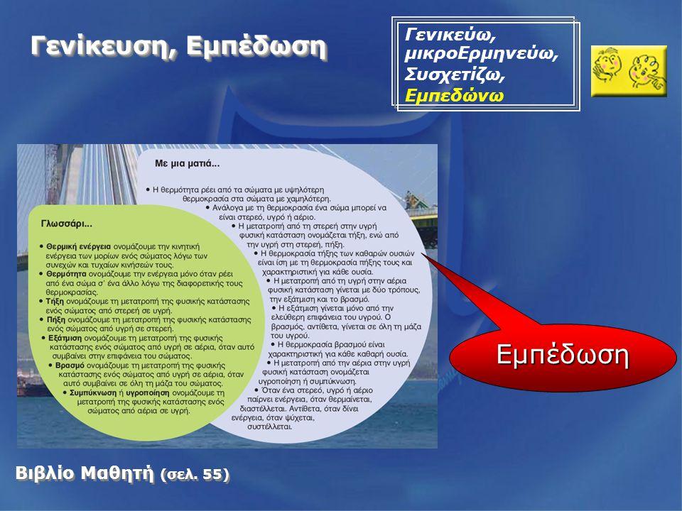 Βιβλίο Μαθητή (σελ. 55) Εμπέδωση Γενίκευση, Εμπέδωση Γενικεύω, μικροΕρμηνεύω, Συσχετίζω, Εμπεδώνω