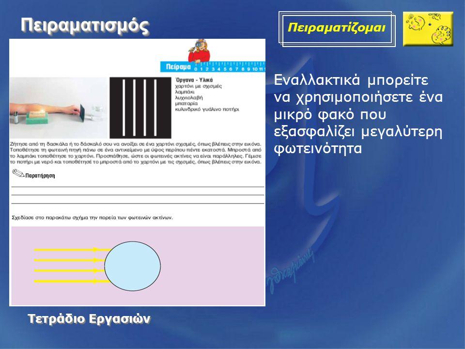 ΠειραματισμόςΠειραματισμός Πειραματίζομαι Τετράδιο Εργασιών Τετράδιο Εργασιών Εναλλακτικά μπορείτε να χρησιμοποιήσετε ένα μικρό φακό που εξασφαλίζει μ