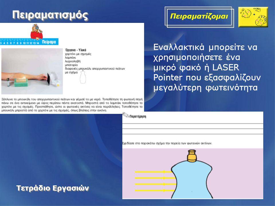 ΠειραματισμόςΠειραματισμός Πειραματίζομαι Τετράδιο Εργασιών Εναλλακτικά μπορείτε να χρησιμοποιήσετε ένα μικρό φακό ή LASER Pointer που εξασφαλίζουν με