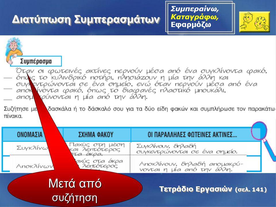Διατύπωση Συμπερασμάτων Συμπεραίνω, Καταγράφω, Εφαρμόζω Τετράδιο Εργασιών (σελ. 141) Μετά από συζήτηση