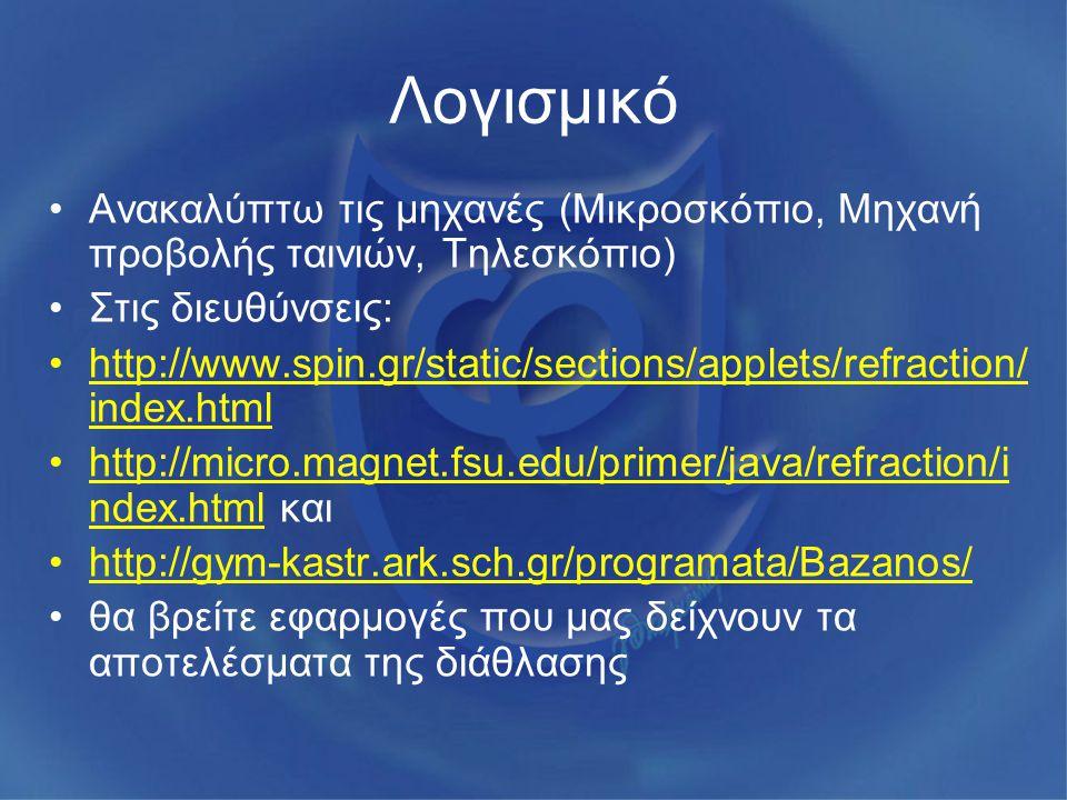 Λογισμικό Ανακαλύπτω τις μηχανές (Μικροσκόπιο, Μηχανή προβολής ταινιών, Τηλεσκόπιο) Στις διευθύνσεις: http://www.spin.gr/static/sections/applets/refra