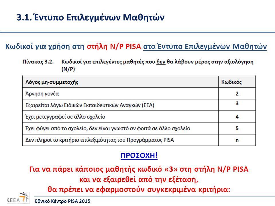 Κωδικοί για χρήση στη στήλη N/P PISA στο Έντυπο Επιλεγμένων Μαθητών ΠΡΟΣΟΧΗ! Για να πάρει κάποιος μαθητής κωδικό «3» στη στήλη N/P PISA και να εξαιρεθ