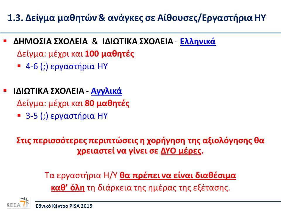 1.3. Δείγμα μαθητών & ανάγκες σε Αίθουσες/Εργαστήρια ΗΥ  ΔΗΜΟΣΙΑ ΣΧΟΛΕΙΑ & ΙΔΙΩΤΙΚΑ ΣΧΟΛΕΙΑ - Ελληνικά Δείγμα: μέχρι και 100 μαθητές  4-6 (;) εργαστ