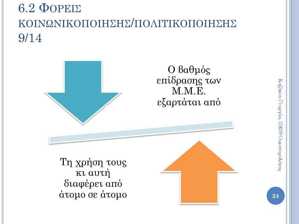 Ο βαθμός επίδρασης των Μ.Μ.Ε. εξαρτάται από Τη χρήση τους κι αυτή διαφέρει από άτομο σε άτομο 24 Καζάκου Γεωργία, ΠΕ09 Οικονομολόγος 6.2 Φ ΟΡΕΙΣ ΚΟΙΝΩ