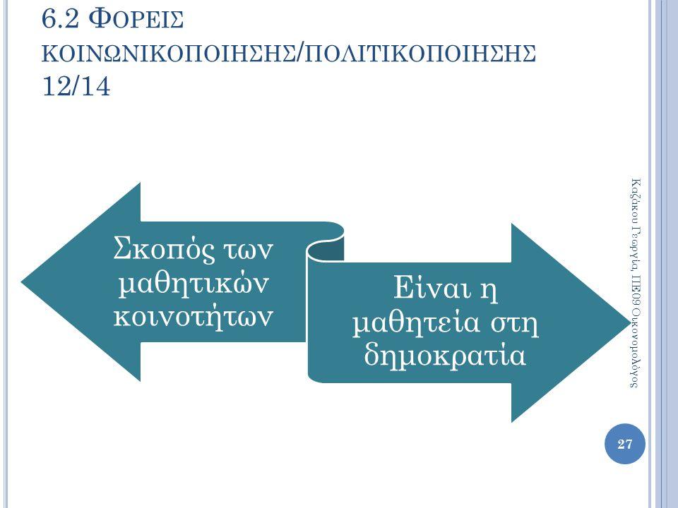 Σκοπός των μαθητικών κοινοτήτων Είναι η μαθητεία στη δημοκρατία 27 Καζάκου Γεωργία, ΠΕ09 Οικονομολόγος 6.2 Φ ΟΡΕΙΣ ΚΟΙΝΩΝΙΚΟΠΟΙΗΣΗΣ / ΠΟΛΙΤΙΚΟΠΟΙΗΣΗΣ