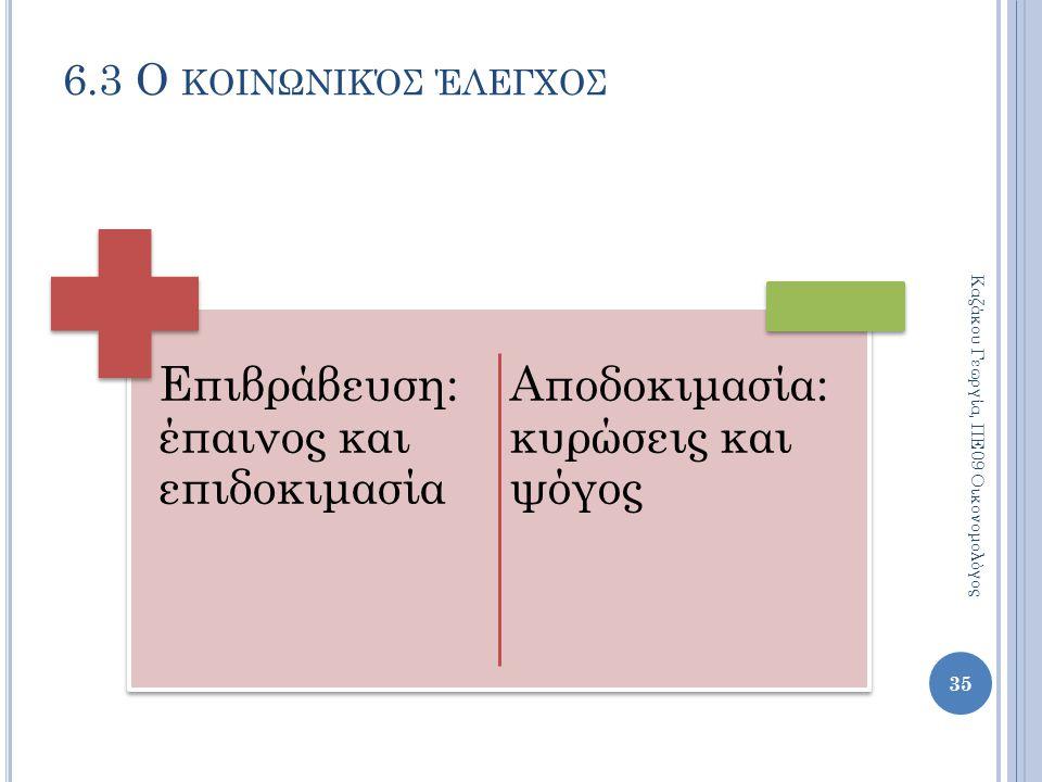 Επιβράβευση: έπαινος και επιδοκιμασία Αποδοκιμασία: κυρώσεις και ψόγος 35 Καζάκου Γεωργία, ΠΕ09 Οικονομολόγος 6.3 Ο ΚΟΙΝΩΝΙΚΌΣ ΈΛΕΓΧΟΣ